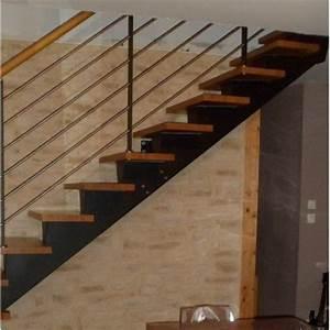 Escalier Droit Bois : escalier quart tournant limon central metal ~ Premium-room.com Idées de Décoration