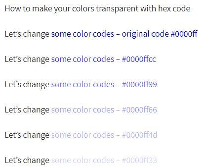 colors transparent  hex code