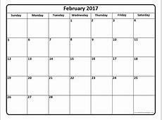 February 2017 calendar 56+ templates of 2017 printable