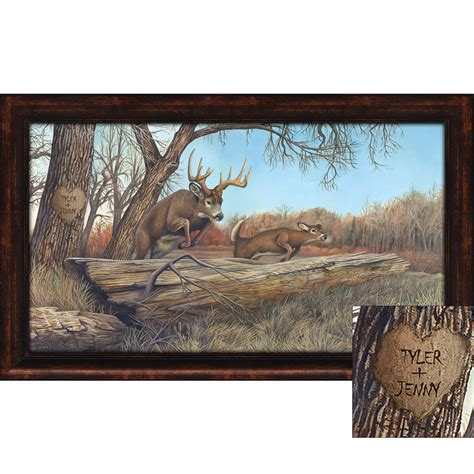 Personalized Whitetail Deer Framed Print Small