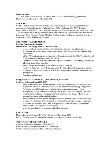 Audit Experience Resume by Auditing High Experience Resume Sles Vault