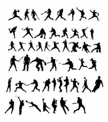Baseball Silhouette Player Vector Players Silhouettes Clip