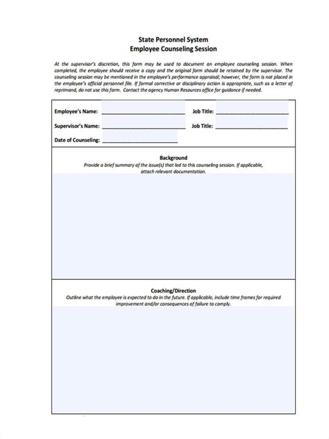 free counseling forms templates 9 employee counseling forms free sle exle format