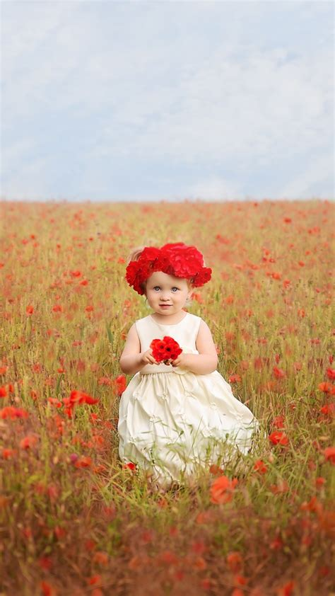 wallpaper cute girl poppy flowers poppies   cute