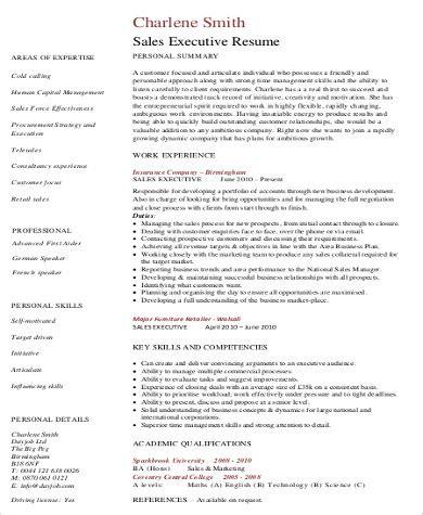 executive summary resume 8 sample executive summary resumes sample templates 21646 | Sales Executive Summary Resume