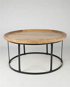 industrial round coffee table with natural wood top and With round metal coffee table with wood top