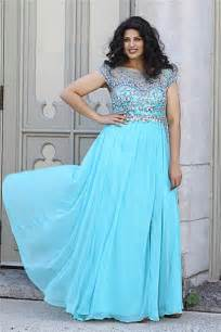 bridesmaid dresses for plus size bateau v back sky blue chiffon beaded plus size formal prom dress with sleeve