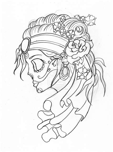 skulls drawings | Gypsy Candy Skull With Flowers by green2106 on deviantART | drawing ideas