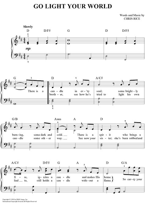 go light your world sheet music music for piano and more
