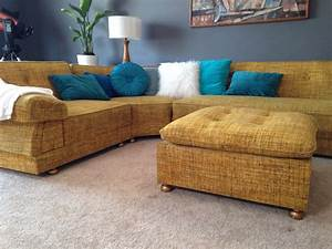 Reduced again mid century mod vintage yellow tweed boucle for 60s sectional sofa