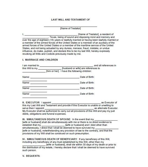 Last Will And Testament Template 39 Last Will And Testament Forms Templates Template Lab