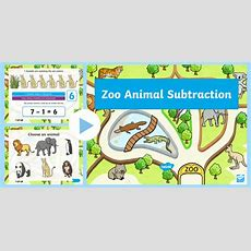* New * Zoo Animal Themed Subtraction Powerpoint