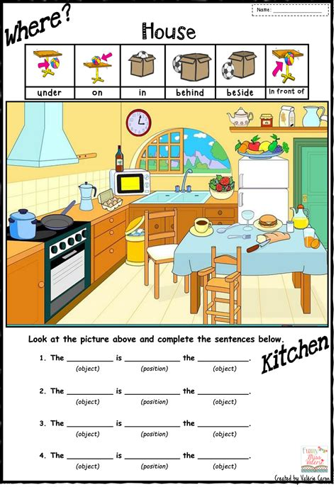 worksheets  talk  prepositions  place
