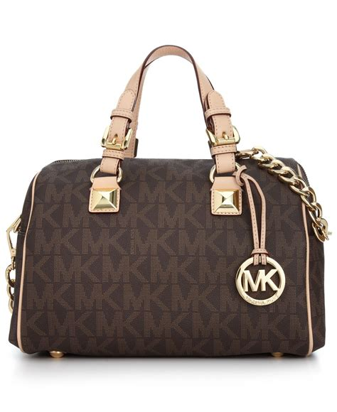 lyst michael kors michael grayson monogram medium satchel  brown