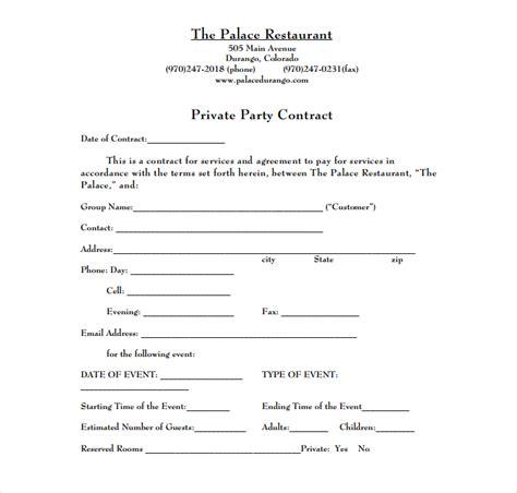 restaurant event contract templates  restaurant