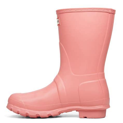 womens original short light pink rain boots  burgundy