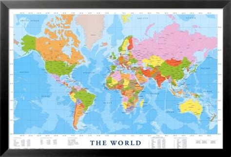 peinture chambre adulte moderne carte du monde plastifiée grand format my
