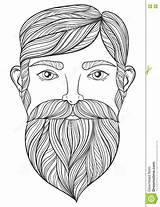 Coloring Beard Pages Mustache Adult Tattoo Zentangle Vector Portrait Ethnic Handsome Patterned Shirt Template A4 Drawn Mo Illustration sketch template