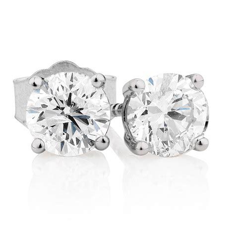stud earrings   carat tw  diamonds  kt white gold