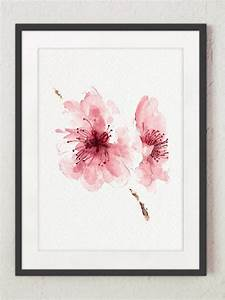 Cherry blossom Flowers Set of 4 Watercolor Prints Pink