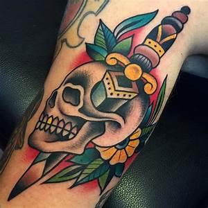Traditional Skull Butterfly Tattoos