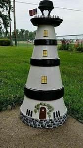 Leuchtturm Für Den Garten : leuchtturm f r den garten in blau und wei selber bauen garten pinterest blau und wei ~ Frokenaadalensverden.com Haus und Dekorationen