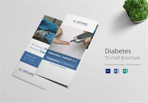 Folding Brochure Template Diabetes Brochure Trifold Design Template In Word Psd