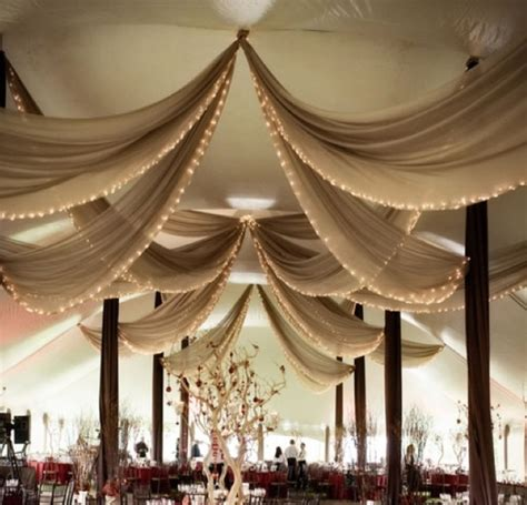 sheer draped fabric for tent ceiling wedding look