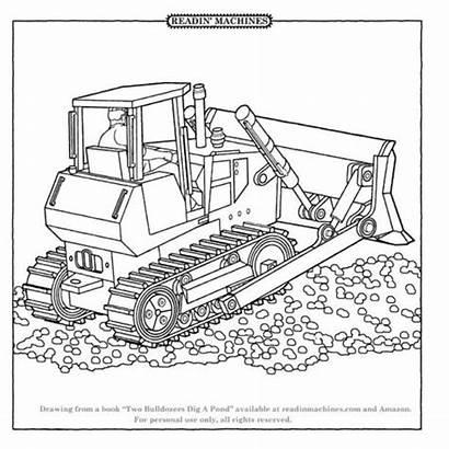 Coloring Bulldozer Chantier Coloriage Shovel Transportation Dessin