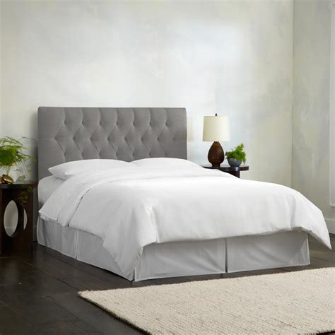 Grey Tufted Bed by Linen Grey Tufted Headboard 542qlnngr The