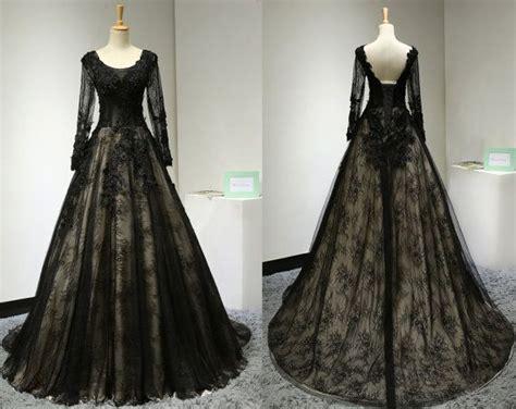 Vintage Long Sleeve Black Lace Evening Dress Custom Made