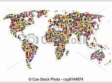 Dibujos de mundo, hecho, banderas, mapa World, mapa