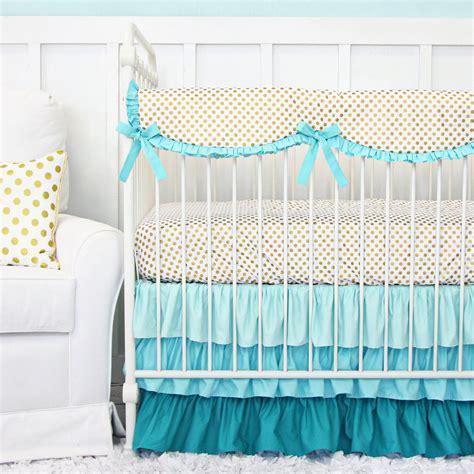 gold crib skirt aqua and gold dot ruffle bumperless crib bedding caden