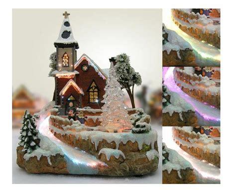 Christmas Snow Village Chapel Fiber Optic Led House