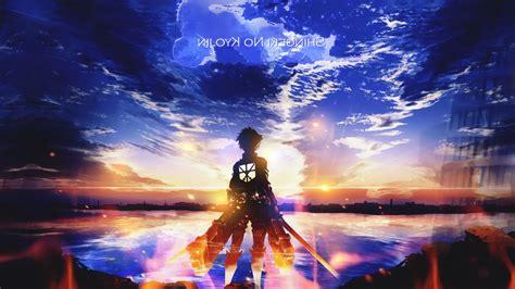 shingeki  kyojin eren jeager anime anime boys sunset