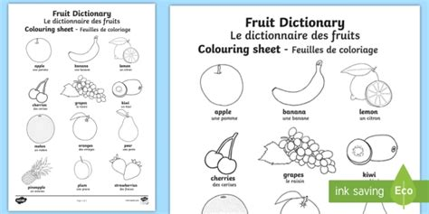 Fruit Dictionary Colouring Page English/french