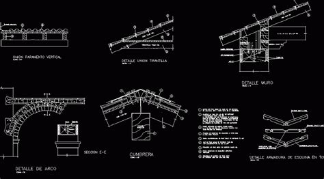 arches  wooden roof  moorish tile dwg detail  autocad designs cad