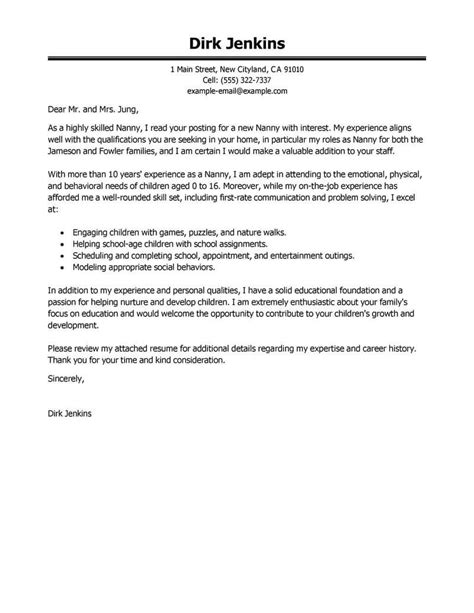 nanny cover letter examples livecareer