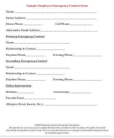 Employee Emergency Contact Form