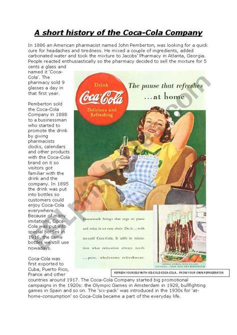 coca cola  real story   real  worksheet