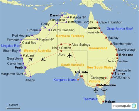 stepmap australien ostkueste zentum landkarte fuer
