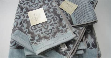 bella lux toile bath towel set aqua blue gray  pc stuff