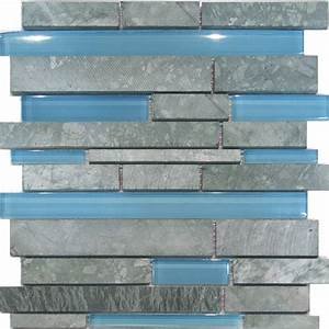 Sample marble stone blue glass random linear mosaic tile for Blue glass tiles for backsplash