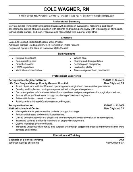 perioperative resume exles healthcare resume