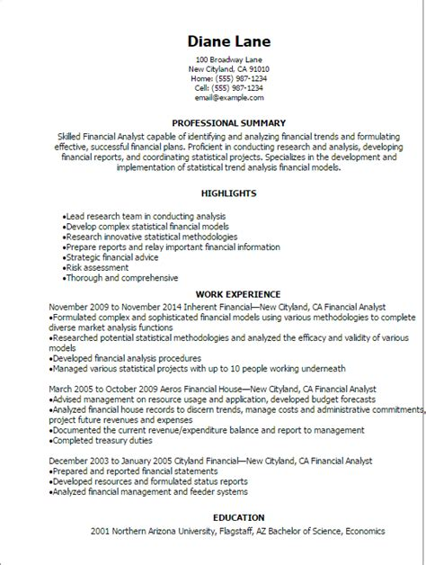 professional financial analyst resume templates to