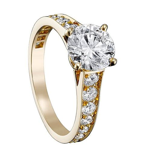 cartier engagement ring solitaire  yellow gold