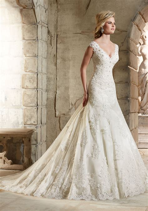 lace with crystal beading over satin wedding dress style