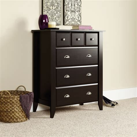 Sauder Shoal Creek Dresser Jamocha Wood Finish by Sauder Shoal Creek 4 Drawer Chest Jamocha Walmart
