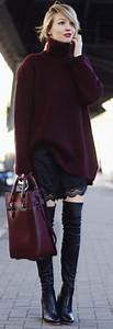 Oversized Bordeaux Sweater & bag. women fashion outfit ...