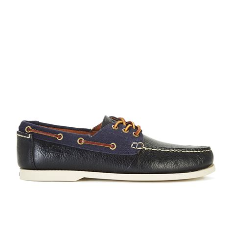 Navy Polo Boat Shoes by Polo Ralph S Bienne Ii Leather Canvas Boat